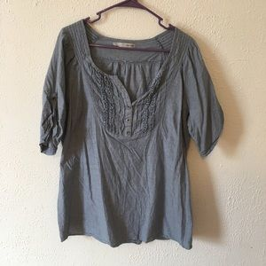 Maurices chambray ruffled 3/4 sleeve tunic size 1